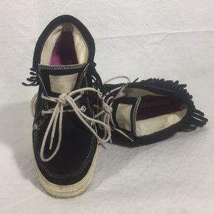 Converse All Star Black Leather with Fringe